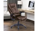 HOMCOM PU Leather Office Chair W/Massage Function, High Back-Brown A2-0056 5056029852774