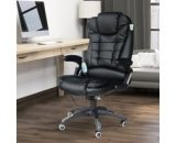 HOMCOM Leather Office Chair Ikea Style PU Massage Function Deluxe Reclining Faux Computer 6-Point Massage Back Black A2-0055 5056029852453
