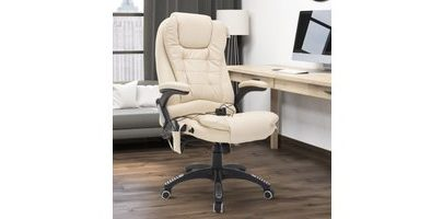 HOMCOM PU Leather Office Chair W/Massage Function, High Back-Cream A2-0057 5056029853016