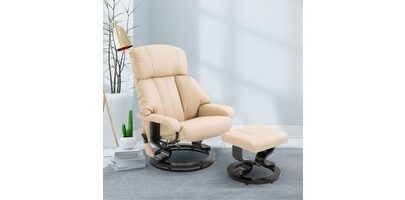 HOMCOM Recliner Sofa Electric Massage Chair Sofa 10 Massager Heat with Foot Stool - White 5550-3472 5056029853382