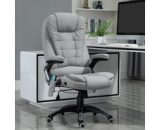 Vinsetto Heated Massage Recliner Office Chair Ergonomic Gaming Heated Home Office Padded Linen-Feel Fabric & Swivel Base Light Grey 921-171V72 5056399140563