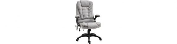 Vinsetto Massage Office Chair 135° Recliner Ergonomic Gaming Heated Home Office Padded Leathaire Fabric & Swivel Base Grey 921-171V71GY 5056029854853
