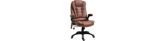 Vinsetto Massage Office Chair 135° Recliner Ergonomic Gaming Heated Home Office Padded Leathaire Fabric & Swivel Base Brown 921-171V71BN 5056029854846